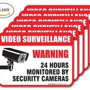 6-Pack-Video-Surveillance-Sign-Decal-Self-Adhesive-2-X-3-4-Mil-Vinyl-Decal-Indoor-Outdoor-Use-UV-Protected-Waterproof-Sleek-Rounded-Corners-0-0