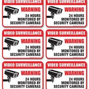6-Pack-Video-Surveillance-Sign-Decal-Self-Adhesive-2-X-3-4-Mil-Vinyl-Decal-Indoor-Outdoor-Use-UV-Protected-Waterproof-Sleek-Rounded-Corners-0