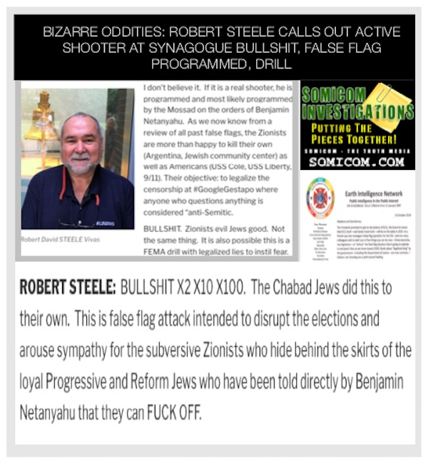 Bizarre Oddities: Robert Steele Calls Out Active Shooter at Synagogue BULLSHIT, False Flag Programmed, Drill